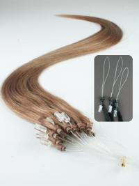Faddish Brown Straight Hair Extensions Micro Loop Ring
