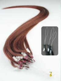 Easy Auburn Straight Hair Extensions Micro Loop Ring