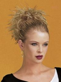 Fashionable Blonde Straight Short Clip in Hairpieces