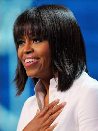 Capless Straight Michelle Obama Wigs First Lady Human Hair
