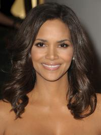 Halle Berry Expertly Designed Long Layered Wavy Full Lace Human Hair Wig 16 Inches