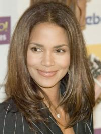 Halle Berry Quality and Flattering Long Straight Layered Glueless Lace Front Human Hair Wig 16 Inches