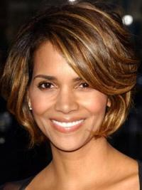 Halle Berry Fun and Feminine Short Layered Wavy Lace Human Hair wig