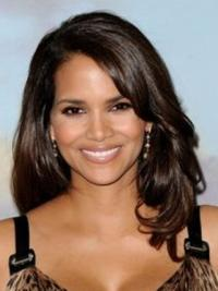 Halle Berry Feminine and Intellectual Long Layered Wavy Lace Front Human Hair Wig 16 Inches