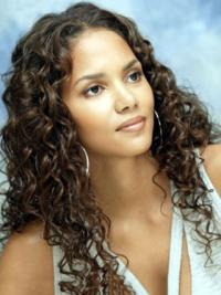 Halle Berry Fresh and Ladylike Long Curly Lace Front Human Hair Wig 18 Inches