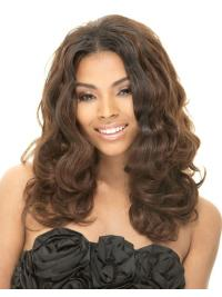 Flexibility Brown Wavy Long African American Wigs