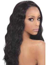 Lace Front Black Wavy Flexibility Human Hair Lace Front Wigs