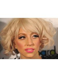 Cheap Blonde Curly Chin Length Lady Gaga Wigs