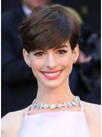 Radiant Brown Straight Cropped Anne Hathaway Wigs