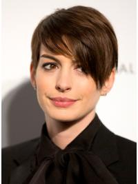 Lace Front Brown Straight Affordable Anne Hathaway Wigs