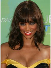 Modern Auburn Wavy Shoulder Length Tyra Banks Wigs