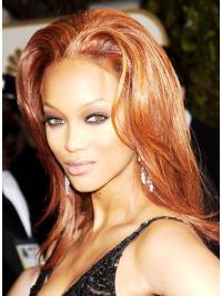 Ideal Auburn Straight Shoulder Length Tyra Banks Wigs