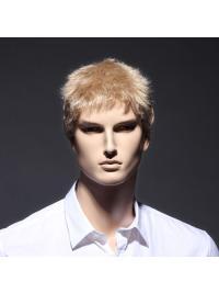 Blonde Designed Short Full Lace Men Wigs