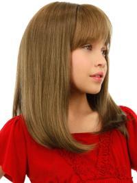 Convenient Blonde Straight Shoulder Length Kids Wigs