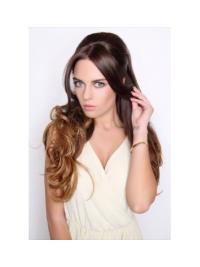 Curly Brown Synthetic Without Bangs 22 Inch Half Wigs