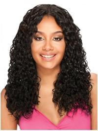 Polite Black Curly Long U Part Wigs