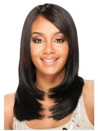 Fashionable Black Straight Long U Part Wigs