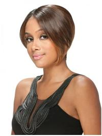 Pleasing Brown Straight Short U Part Wigs