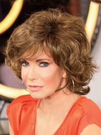 Jaclyn Smith Old-style Mid-length Curly Layered Shag with Wispy Bangs Lace Front Human Hair Wig