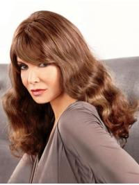 Jaclyn Smith Ideal and Long with Soft Waves Lace Front Human Hair Wig with the Distinct Bangs