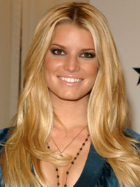 Jessica Simpson Glamorous 100% Human Remy Hair Lace Front Long Wavy Wig about 20 Inches
