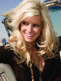 Attractive and enthusiastic long wavy lace wig about 16 inches