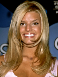 Jessica Simpson special 100% human remy hair long layered wavy lace wig about 16 inches