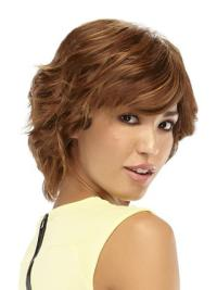Monofilament Auburn Wavy Easy Wigs For Cancer