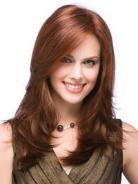 Easeful Auburn Straight Long Human Hair Full Lace Wigs