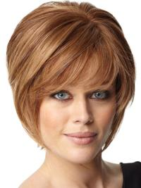 Comfortable Auburn Straight Short Celebrity Wigs