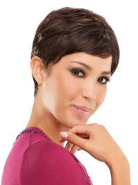 Refined Brown Straight Cropped Celebrity Wigs