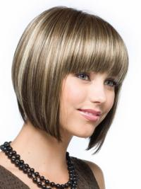 Cosy Brown Straight Chin Length Synthetic Wigs