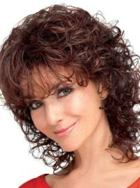 Designed Auburn Curly Shoulder Length Classic Wigs