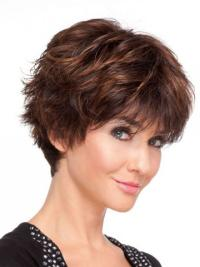 Top Auburn Wavy Short Synthetic Wigs