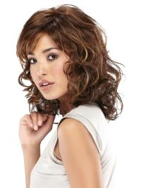 Fashionable Brown Wavy Shoulder Length Lace Wigs
