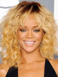 Modern Blonde Curly Shoulder Length Celebrity Wigs