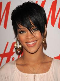 Lace Front Black Straight Glamorous Rihanna Wigs