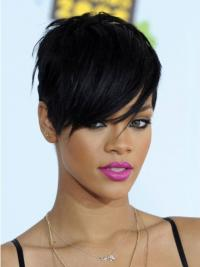 Elegant Black Straight Cropped Rihanna Wigs