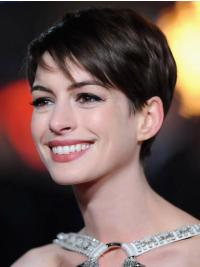 Lace Front Brown Straight Unique Anne Hathaway Wigs