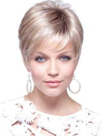 Cool Blonde Straight Cropped Petite Wigs