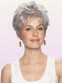 Exquisite White Wavy Cropped Grey Wigs