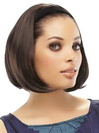 Brown Straight Synthetic Designed Medium Wigs