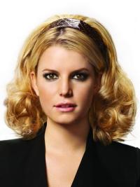 Natural Blonde Curly Shoulder Length Hair Falls & Half
