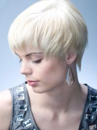 Young Fashion White Very Short Girl Capless Wigs