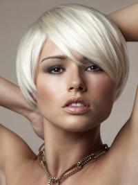 Young Fashion Platinum Blonde With Side Bangs Short  Capless Wigs