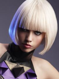 Young Fashion Classic Bobs Platinum Blonde Chin Length Capless Wigs