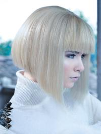 Young Fashion Platinum Blonde Chin Length With Clear Clean lines Lace Front Wigs