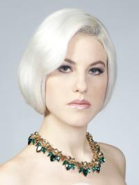 Young Fashion Silver Smooth Chin Length Human Wigs