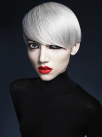 Young Fashion Grey Smooth Short Clean Lace Front Wigs