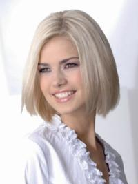 Young Fashion Platinum Blonde Medium Length Haircut Straight Full Lace Remy Human Wigs